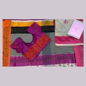 Multicoloured embroidered  sari with blouse.